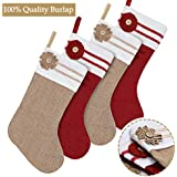 Ivenf Christmas Stockings, 4 Pack 18 Inch Large Original Burlap Handcraft Stockings, for Family Holiday Xmas Party Decorations