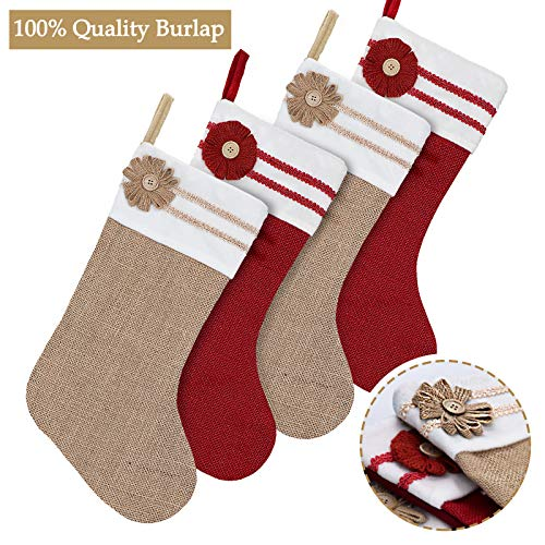 Ivenf Christmas Stockings, 4 Pack 18 Inch Large Original Burlap Handcraft Stockings, for Family Holiday Xmas Party -
