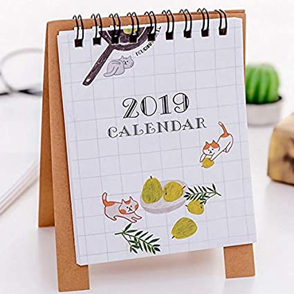 Calendario de mesa 2019, diseño de dibujos animados, calendario de ...