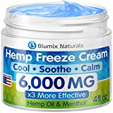 BLUMIX Hemp Cream for Pain Relief 6000 mg - Made in USA - Hemp Oil & Menthol Blend - Cooling & Soothing Effect - for Inflammation, Joint, Back, Knee, Nerves Pain & Sore Muscles - Natural Hemp Extract