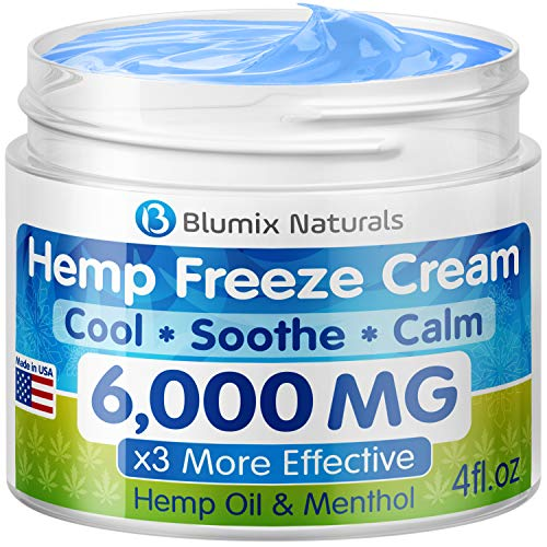 Hemp Cream for Pain Relief - 6000 mg - Made in USA - Hemp Oil & Menthol Blend - Cooling & Soothing Effect - for Inflammation, Joint, Back, Knee, Nerves Pain & Sore Muscles - 100% Natural Hemp Extract