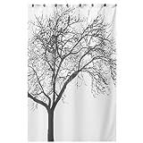 JIKUO Unique Black Scenery Tree Design Curtain Waterproof Bathroom Fabric Curtain
