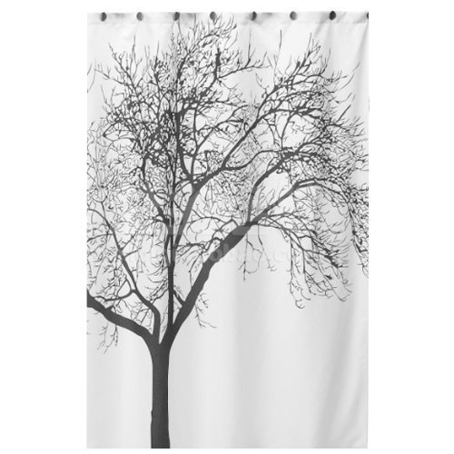 JIKUO Unique Black Scenery Tree Design Curtain Waterproof Bathroom Fabric Curtain by JIKUO
