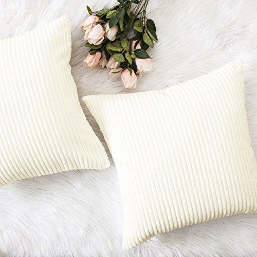 HOME BRILLIANT Christmas Decor Striped Corduroy Velvet Cushion Covers Set for Baby Square Decorative Pillowcase, Creamy White, Set of 2, 18