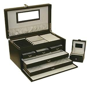 Amazon.com: Jewelry Box Travel Genuine Leather Black White