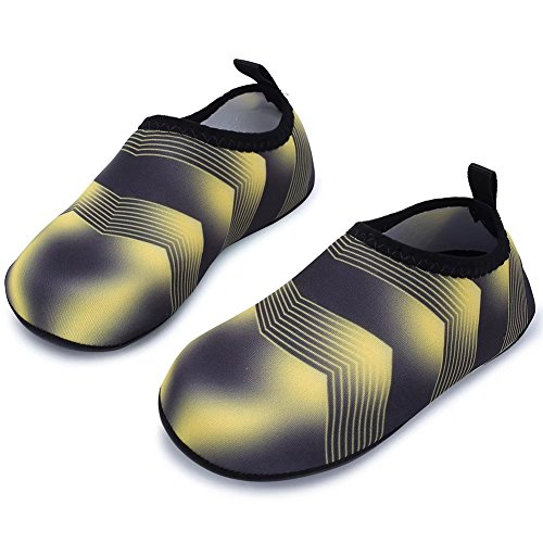 Image of HOBIBEAR Kids Water Shoes Quick Dry Barefoot Sock Aqua Shoes for Swim (30-31,Yellow/Black)