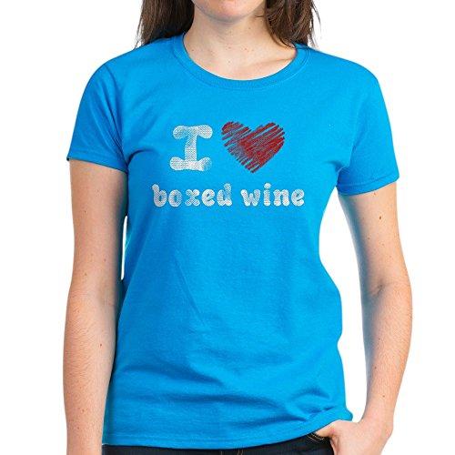 CafePress I Love Boxed Wine Women's Dark T-Shirt - Womens Cotton (Boxed Wine T-shirt)