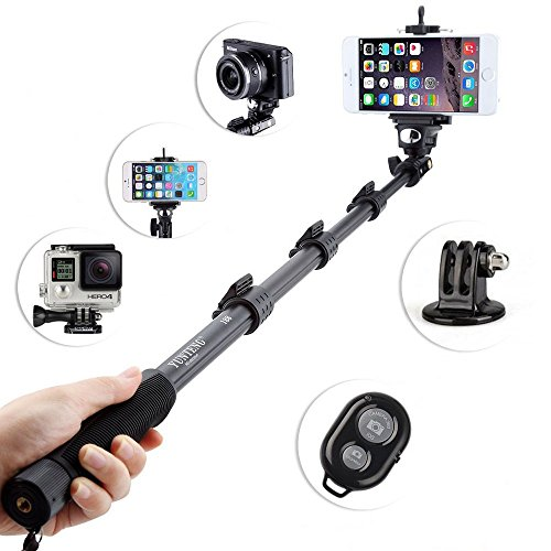 i-smile® 48 Inch High Grade Heavy Duty Extendable Handheld Monopod Selfie Stick+Tripod Mount Adapter+Mobile Phone Tripod Mount Adapter Bundle+Bluetooth Remote Camera Shutter Release Control for GoPro Hero 1/2/3/3+ Digital Camera and Cellphone(Up to 85mm Width) (Reg Stick)