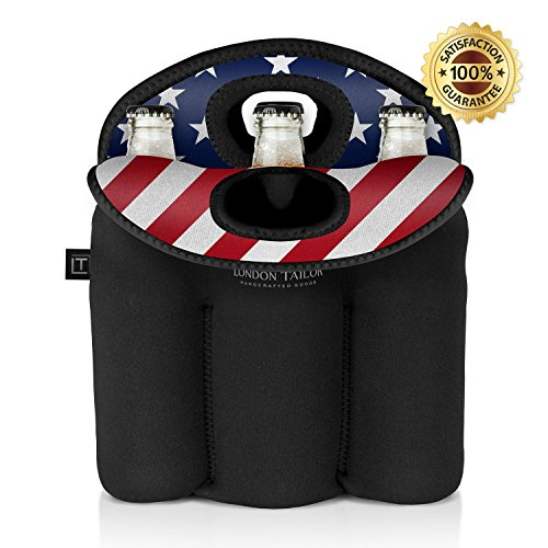 (LONDON TAILOR Neoprene Bottle Tote Carrier Cooler - Holds a Six (6) Pack of Beer or Soda Bottles or Cans - Protects Glass from Damage - Insulated Like Coolers - Easy to Carry - STARS & STRIPES)