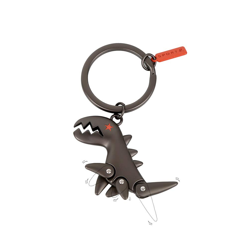 Sanlan Alloy Dinosaur Key Chain,Car Key Ring for Men and Women (Black)