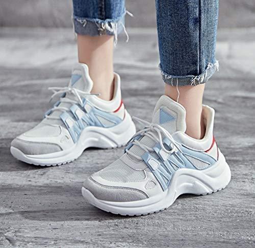 inferior malla aumentados de del versión gran los estudiante de la las de femenina coreana las de zapatos parte mujeres mujeres deporte zapatos tamaño de de Zapatillas Negro los zapato de gruesa de la la de fxwvq44