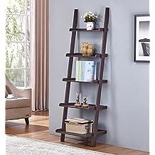 "Espresso Finish 5 Tier Bookcase Shelf Ladder Leaning - 72"" Height"