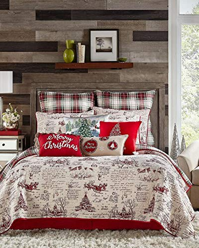 red beige classic vintage christmas script plaid king size quilt only holiday bedding