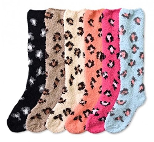 Womens Thick Comfortable Soft Fuzzy Cozy Calf High Winter Plush Socks 6 Pairs Size 9-11 ()