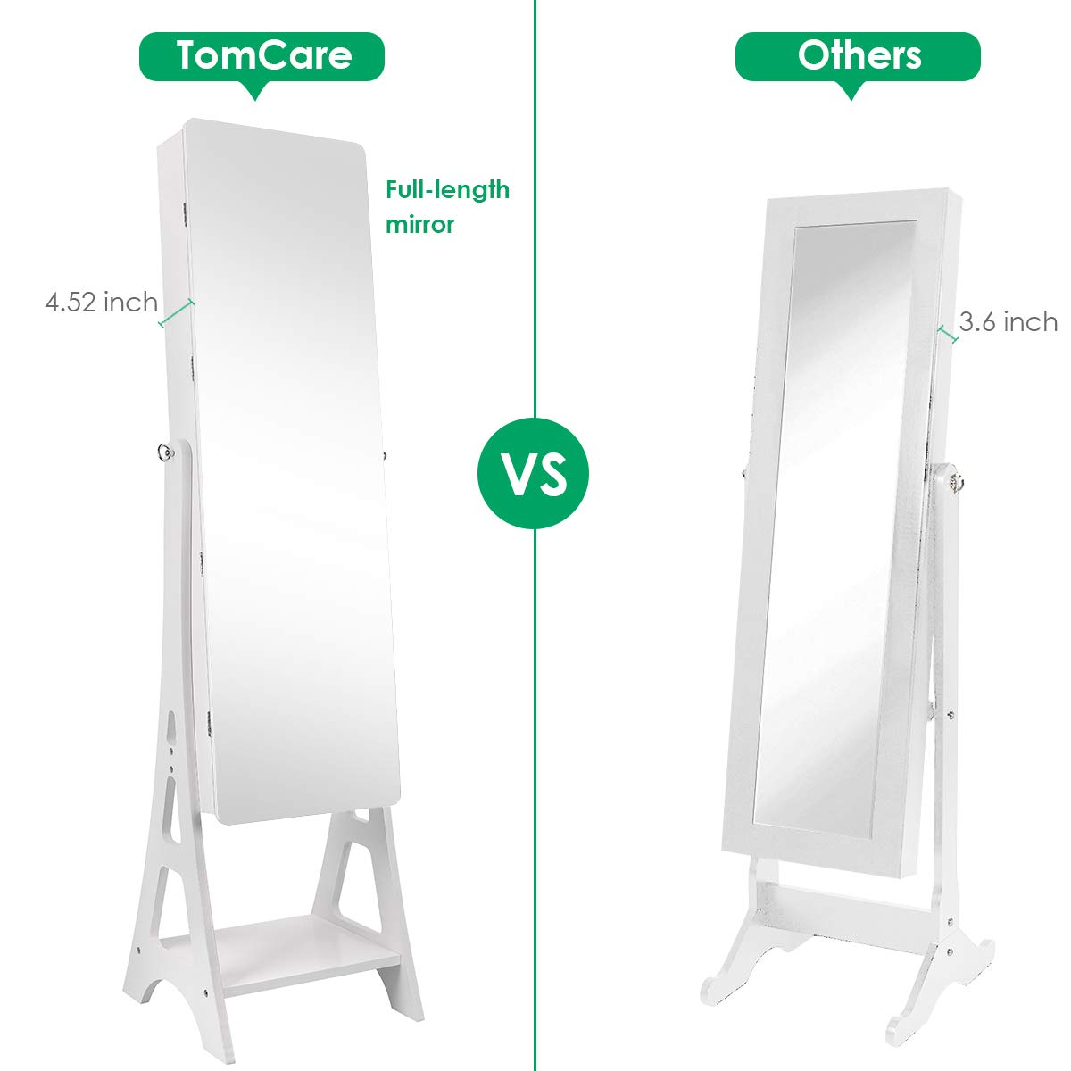 TomCare Jewelry Organizer Jewelry Cabinet Free Standing Jewelry Armoire Lockable Tilt Angle Adjustable Jewelry Box withFull Length Mirror & 2 Drawers Earring OrganizerJewelry Storage Holder, White by TomCare (Image #3)