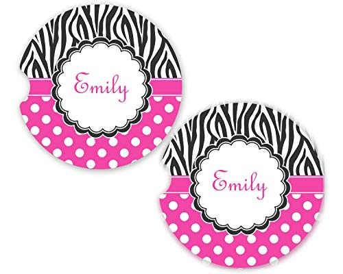Zebra Print & Polka Dots Sandstone Car Coasters - Set of 2 (Personalized)