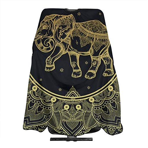 PNNUO Salon Cape Barber Haircut Apron Hippie Indian Elephant with Snap Closure Waterproof Professional Hairdressing Cover for Hair Cutting Cut (Best Haircuts For Indian Men)
