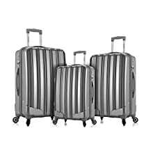Rockland Barcelona 3 Polycarbonate/Abs 6 Pc. Travel Set and Luggage Cover, Silver