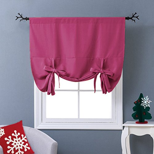 small bathroom window. NICETOWN Thermal Insulated Pink Blackout Curtain  Tie Up Shade for Small Window Rod Pocket Panel 46 W x 63 L Bathroom Amazon com