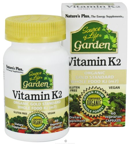 Natures Plus Source of Life Garden Organic Vitamin K2 (Menaquinone-7) Capsules - 120 mcg, 60 Vegan Supplements - Natural Whole Food Enzymes - USDA Certified, Vegetarian, Gluten Free - 60 Servings