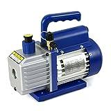 Super Deal VP125+ Single-Stage 3.5CFM Rotary Vane 5 Pa Vacuum Pump, 1/4HP HVAC Heavy Duty Air Refrigerant Tool, R410a R134, Blue