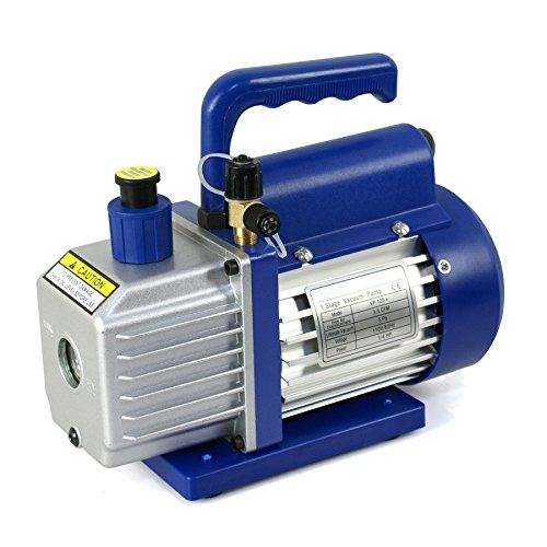 Super Deal VP125+ Single-Stage 3.5CFM Rotary Vane 5 Pa Vacuum Pump, 1/4HP HVAC Heavy Duty Air Refrigerant Tool, R410a R134, (Wet Vacuum Pump)