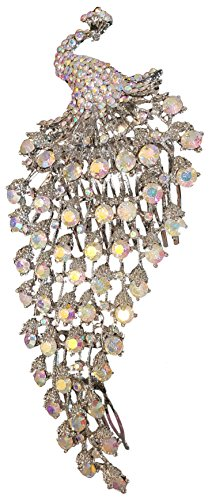 Jesi Madison Collection Large Crystal Peacock Brooch & Hair Comb Aurora Borealis Size 7