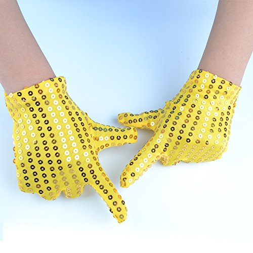 JISEN Child Costume Dress up Dance Sequin Cosplay Party Performance Gloves Age 3-7 Yellow (2)