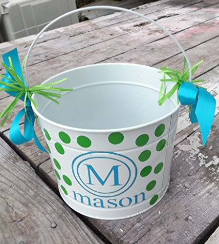 Easter Bucket, Metal 5 quart bucket with monogram and name -