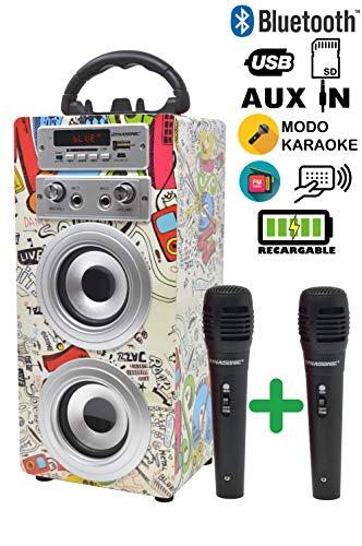 DYNASONIC – Altavoz Bluetooth Portatil Karaoke con Micrófonos Incluidos | Lector USB y SD, Radio FM Modelo 025 (2…