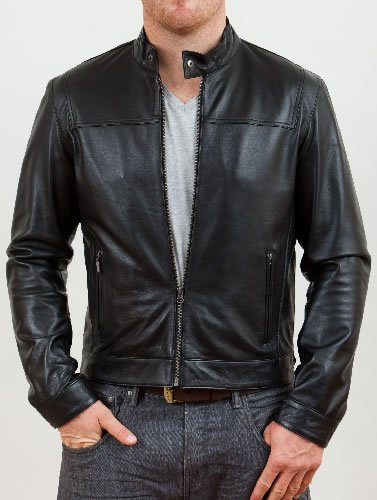 Mens Black Leather Biker Jacket - Triumph - Superior Soft Quality ...