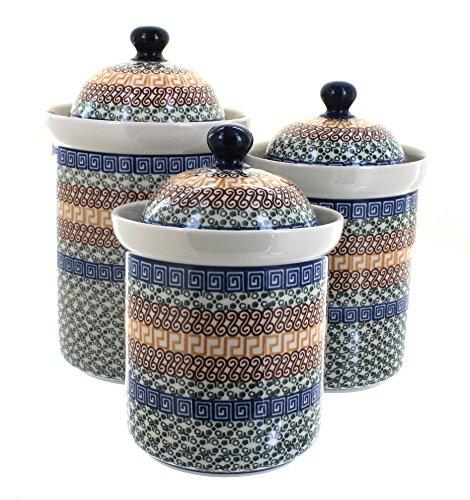 3 Piece Pottery Roses - Ceramika Artystyczna Blue Rose Polish Pottery Athena 3 Piece Canister Set
