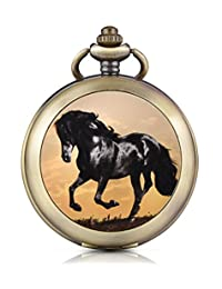 Infinite U Black Horse Steed Skeleton Mechanical Pocket Watch Photo Locket Pendant Hand Wind Roman Numerals White Dial Fob/Long Chain Sweater Necklace