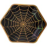 Disposable Plates - 50-Count Black Paper Plates, Hexagon Plates, Halloween Party Supplies for Appetizer, Lunch, Dinner, Dessert, with Holographic Spider-Web Design, 9 x 8 Inches
