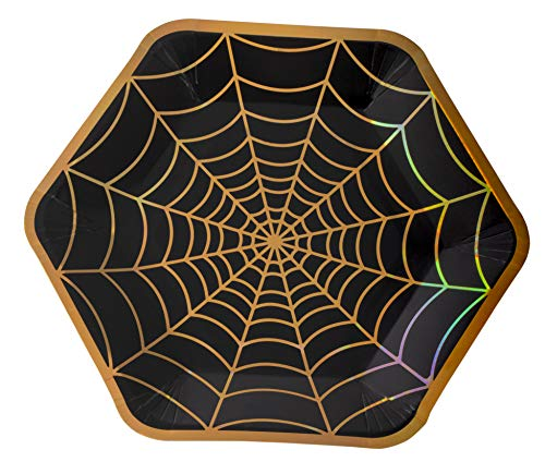 Disposable Plates - 50-Count Black Paper Plates, Hexagon Plates, Halloween Party Supplies for Appetizer, Lunch, Dinner, Dessert, with Holographic Spider-Web Design, 9 x 8 Inches]()