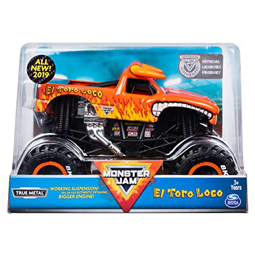 24 Scale Replica Truck - MJ Monster Jam, Official El Toro Loco Monster Truck, Die-Cast Vehicle, 1:24 Scale