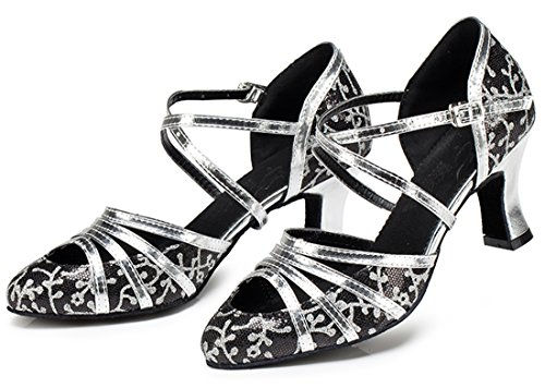Evening Tango Dance Toe Synthetic MGM Wedding Ballroom Heel Black Starp Glitter 7cm Latin Womens Closed Modern Shoes Glitter Joymod Ankle 6nqq0vx8A