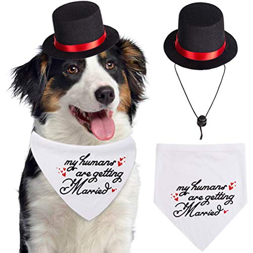 SCENEREAL My Humans are Getting Married Dog Bandana, Wedding Dog Bandana with Black Hat for Day of Commemoration, Engagement Announcement -