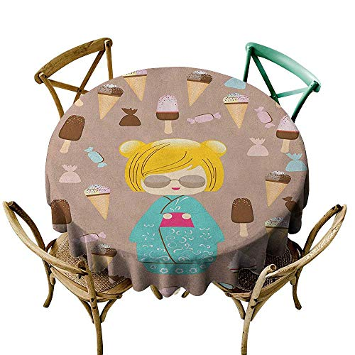 Price comparison product image Wendell Joshua Small Round Tablecloth 36 inch Anime, Japanese Kokeshi Summer Doll Illustration with Yummy Ice Cream and Sweet Candies,  Multicolor Polyester Fabric Table Cloth