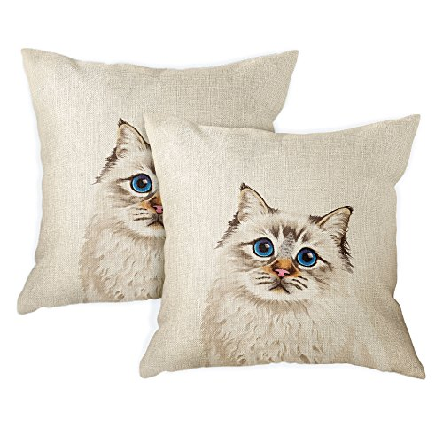 FINCIBO Sofa Pillow Cases, Decorative Throw Pillow Cushion Covers for Home Office 18 x 18 Inch (2 Piece Set), Cute Seal Lilac Tabby Point Birman Cat