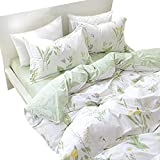 Yellow and Purple Duvet Covers FADFAY Shabby Green Floral Duvet Cover Set Green Yellow Purple Blue Flowers Cotton Bedding Set 4-Piece:1flat Sheet,1duvet Cover,& 2pillowcases King Size