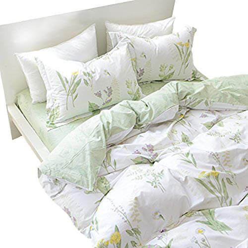 FADFAY Shabby Green Floral Duvet Cover Set Reversible Printing with Brushed Cotton Bedding Set 4 Pcs,1fitted Sheet,1duvet Cover&2pillowcases, Queen (Cotton Brushed Comforter)