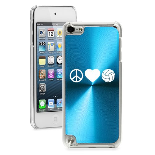 For Apple iPod Touch 5th / 6th Generation Light Blue 5B2194 hard back case cover Peace Love Volleyball