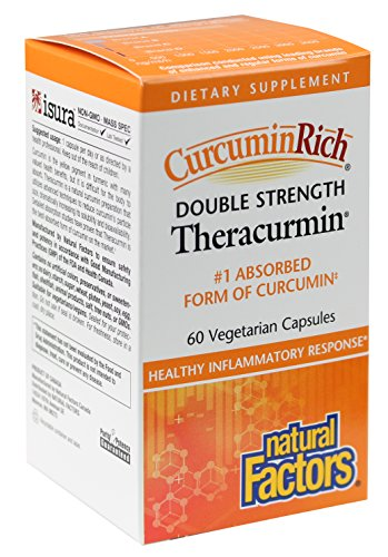Double Capsules 60 Strength (Natural Factors - CurcuminRich Double Strength Theracurmin 60mg, #1 Absorbed Form of Curcumin, 60 Vegetarian Capsules)