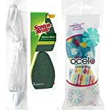 Ocelo Scotch-Brite Refillable Dish Wand with Heavy Duty and Non-Scratch Sponges For Kitchen Sink 3M Value Dish wand PLUS 4 Refill Heads Cleaning Brush