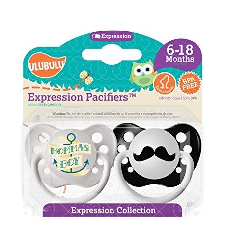 Ulubulu MP-01-99-H-1-025 6 - 18 Month - Mommas Boy & Mustache Expression Pacifiers - Boy, Pack Of 5