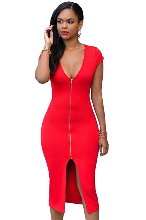 Para mujer rojo oscuro V-cuello de raso con diseño fruncido Bodycon Midi e instrucciones