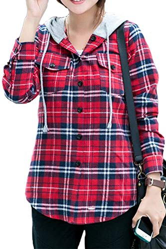 Asher Women Classic Long Sleeves Cotton Hoodie Button-up Plaid Shirts (M, Red) ()