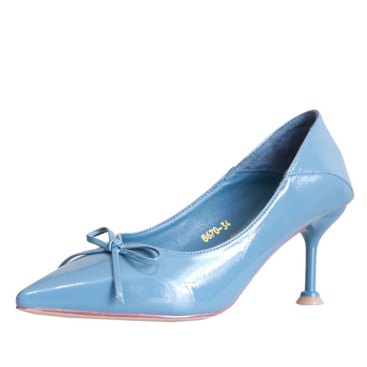KPHY Damenschuhe Herbst Süße Pfeil Verwies Darauf Schuhe Gut Bei Bei Bei Fuß 6 cm Hochhackigen Schuhe Flachen Mund - Lack-Haut Modische Schuhe.36 Blau 8ed739