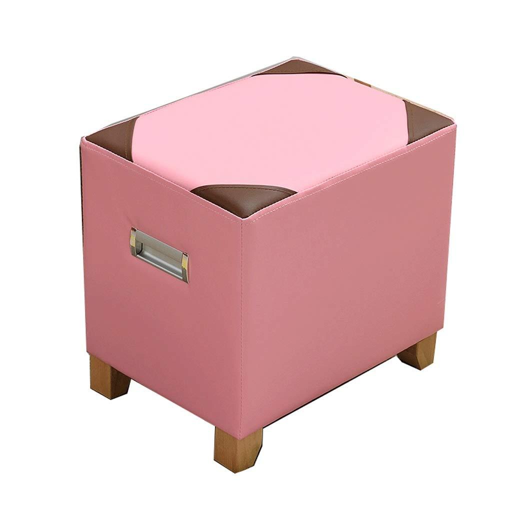 rose  GAO XING SHOP Multifonction Tabouret Tabouret voitureré en Bois de Peau, Tabouret épaissi créatif de Table Basse de Salon à la Maison (Couleur   rose)